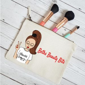 Personalised Positive Vibes Makeup Bag