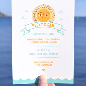 Summer Beach Retro Wedding Day Invitations - wedding stationery