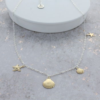 Silver And Gold Shell Necklace