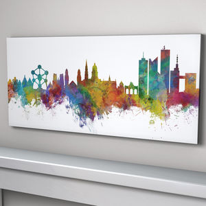 Brussels Belgium Skyline Cityscape Art Print - architecture & buildings