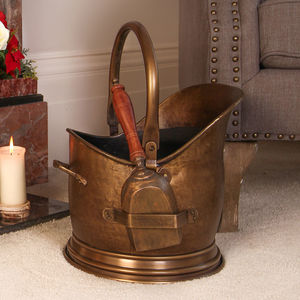 Antique Brass French Coal Bucket With Shovel - living room