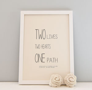 Personalised Wedding Day Print Framed 'Two Hearts' - whatsnew