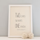 Personalised Wedding Day A4 Print 'Two Hearts'