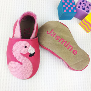 Personalised Embroidered Flamingo Baby Shoes - gifts for mums-to-be