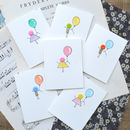 Pack Of Six Handmade Button Balloon Birthday Cards