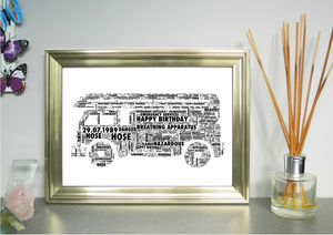 Fire Engine Personalised Word Art Print - baby's room