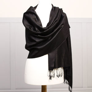 Midnight Black Pashmina Shawl - women's accessories