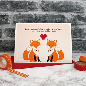 'Foxes' Personalised Valentines Card