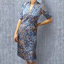 1940's Style Party Dress In Japan Blue Floral Crepe