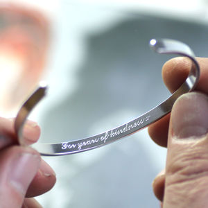 Personalised Mens Silver Bangle - gifts for him