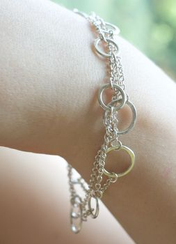 Handmade Silver Ring And Chain Bracelet