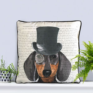 Dachshund Cushion, Formal Dog Collection - bedroom