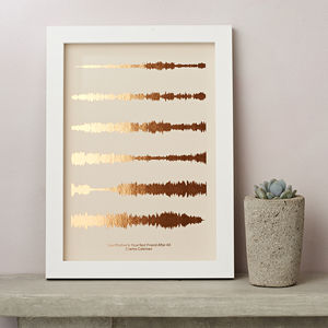 Metallic Personalised Favourite Song Sound Wave Print - gifts for her
