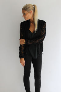 Black Lace Sleeve Bomber Jacket - winter sale