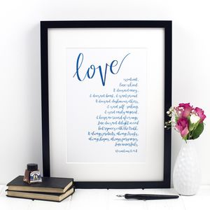 'Love Is Patient' One Corinthians 13:Four Eight Print - typography