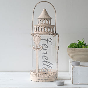 Personalised Dusky Pink Lantern - new in garden
