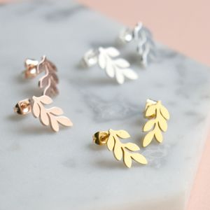 Delicate Leaf Stud Earrings - summer sale