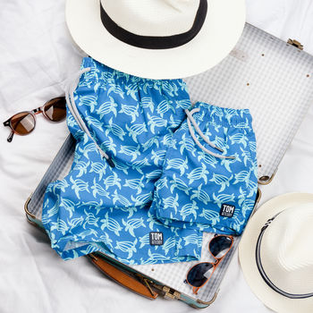 Father And Son Matching Mid Blue Turtles Swim Shorts