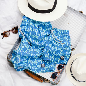 Father And Son Matching Mid Blue Turtles Swim Shorts - gifts for fathers