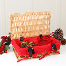 Personalised Small Wicker Hamper With Red Linen Lining