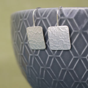 Sterling Silver Watercolour Oak Tag Drop Earrings