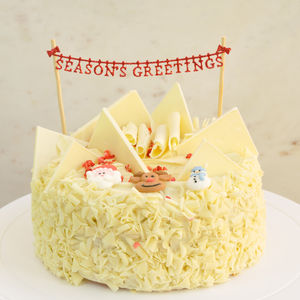 Seasons Greetings Re Usable Glitter Cake Centrepiece