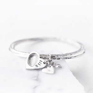 Silver Hammered Bangles With Fingerprint Heart Charm