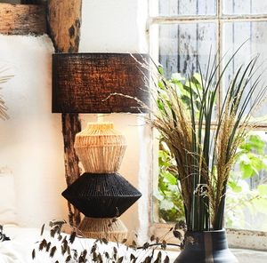Black And Natural Abstract Jute Lamp