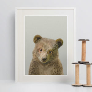 Nursery Decor Brown Bear Cub Peekaboo Animal Print
