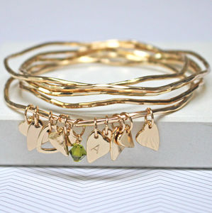 Personalised Heart Bangles With Swarovski Crystals - summer sale