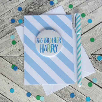 Personalised Big Brother Card With Badge