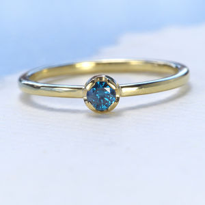 Blue Diamond Stacking Ring, 18ct Eco Gold