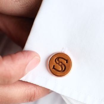 Personalised Leather Initial Cufflinks Wedding Gift