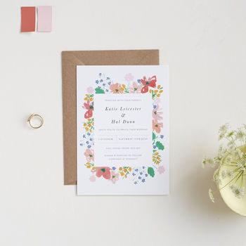 Seventies Blooms Wedding Invitations