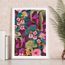 'Floral Elephants' Giclee Art Print
