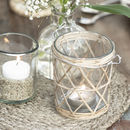 Glass Tea Light Holder With Bamboo Detail