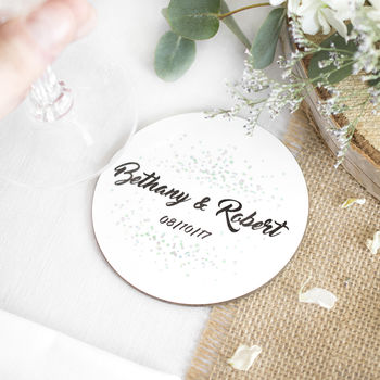 Personalised Wedding Confetti Drink Coaster