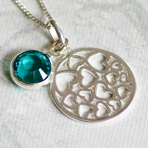 Birthstone/Heart Sterling Silver Necklace