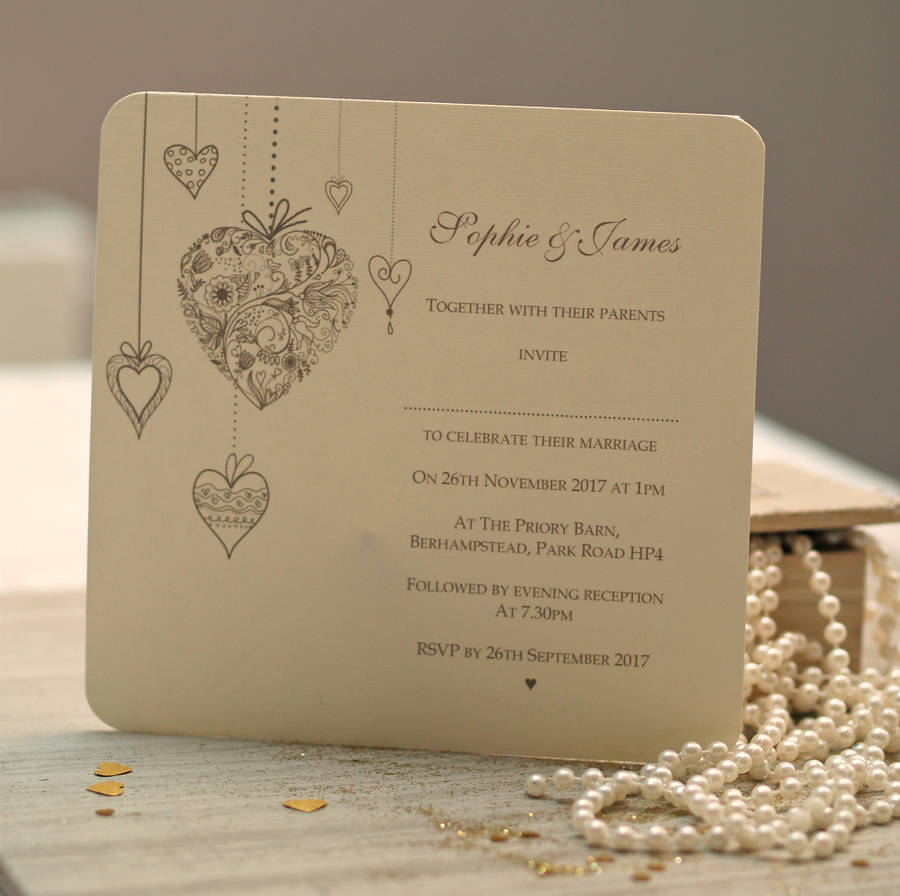 hearts personalised wedding invitations by beautiful day