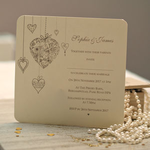 'Hearts Personalised' Wedding Invitations
