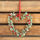 Heart Holly Wreath Christmas Tree Decoration