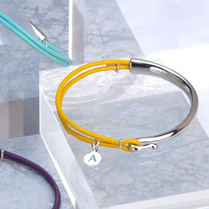 Personalised Sofia Silver And Leather Bangle - bracelets & bangles