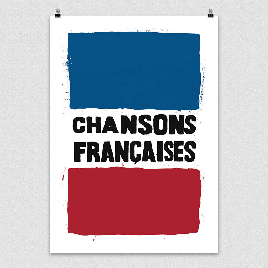 french style protest poster print \'chansons francaises\' by lime lace ...