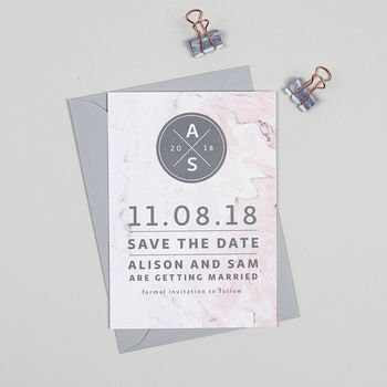 Pink And Grey Marble Save The Date Cards