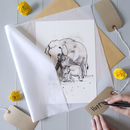 Mother And Baby Elephant Art Print