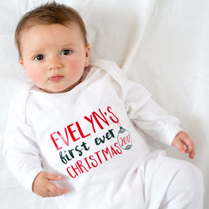 Personalised Baby's First Ever Christmas Babygrow