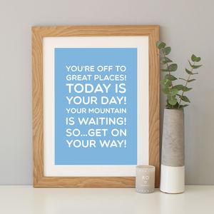 Dr Seuss 'Oh The Places You'll Go' Quote Print - children's room