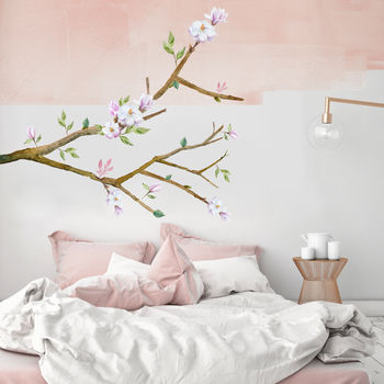 Magnolia Watercolour Branch Wall Sticker