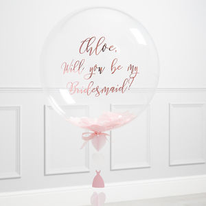 'Will You Be My Bridesmaid?' Soft Pink Bubble Balloon
