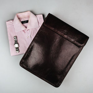 Fine Leather Shirt Carrier/ Case. 'The Sepino' - collar studs & stiffeners